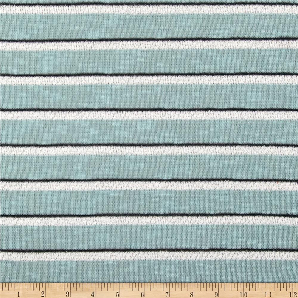 Stretch Sweater Knit Line Stripes Aqua