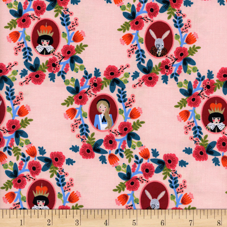 Image of Cotton + Steel Rifle Paper Co. Wonderland Cameos Rose Fabric