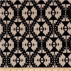 Cotton Lycra Jersey Knit Tribal Tile Tan/Black