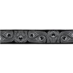 7/8'' Jacquard Peacock Ribbon Black/White