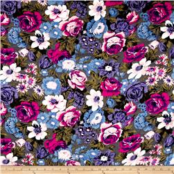 French Designer Viscose Challis Large Floral Grey/Hot Pink