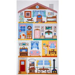 Robert Kaufman Penny's Dollhouse Rooms 24 In. Panel Vintage