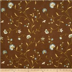 Fabricut Trailside Flowers Linen Blend Lagoon