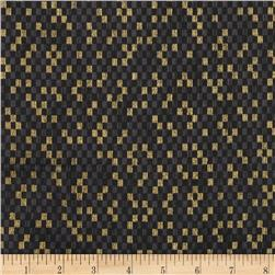 Narumi Metallic Abstract Check Black/Gold Fabric