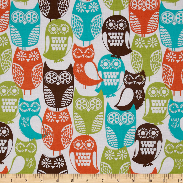 Michael Miller Cocoa Berry Swedish Owls Brown Fabric