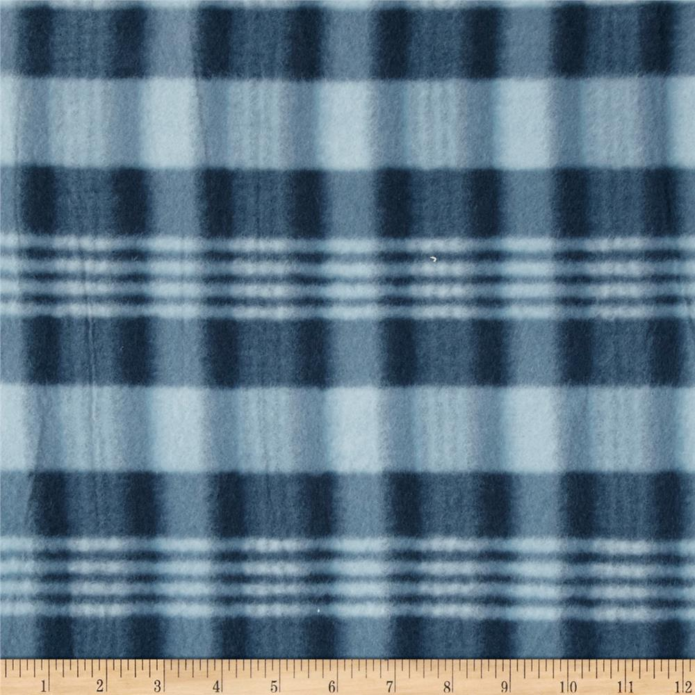 Printed Fleece Plaid Navy/White