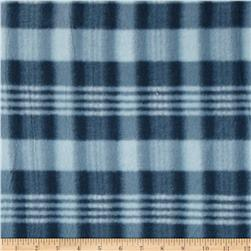 Printed Fleece Plaid Navy/White Fabric