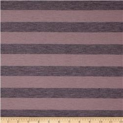 Yarn Dyed Jersey Knit Stripe Mauve/Charcoal