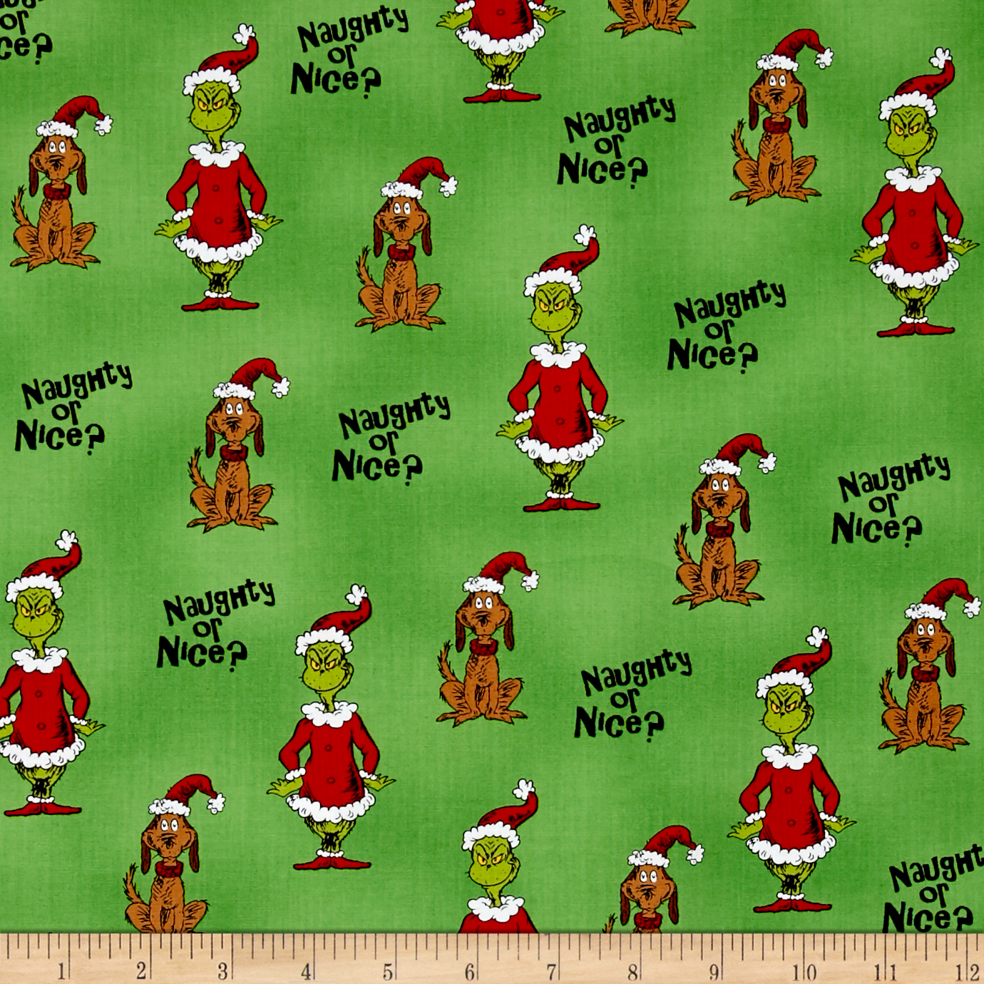 How The Grinch Stole Christmas Grinch Collage Green Fabric By The Yard
