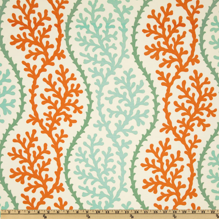 P Kaufmann Indoor/Outdoor Coral Splendor Stripe Coral Fabric