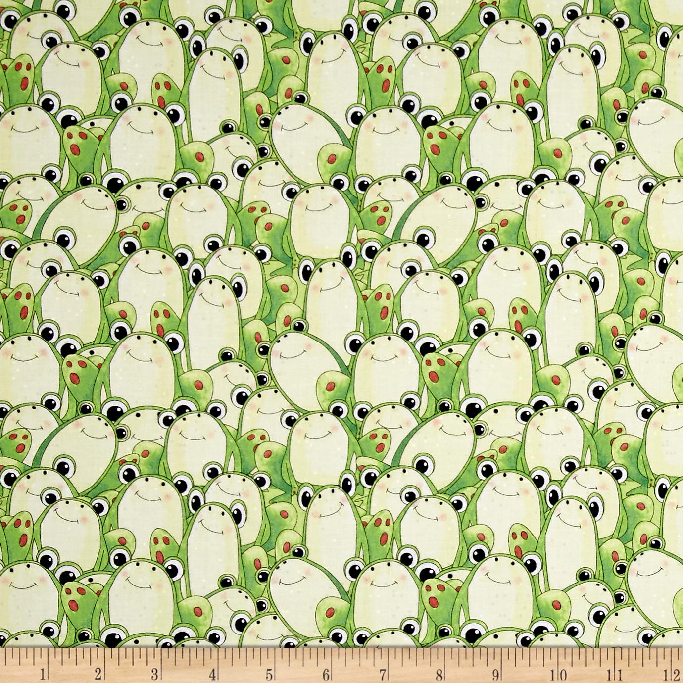 It's a Pond Party Frogs Green/Yellow Fabric by Quilting Treasures in USA