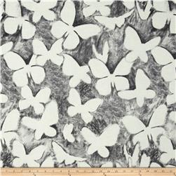 Kaufman Black & White Butterflies Charcoal