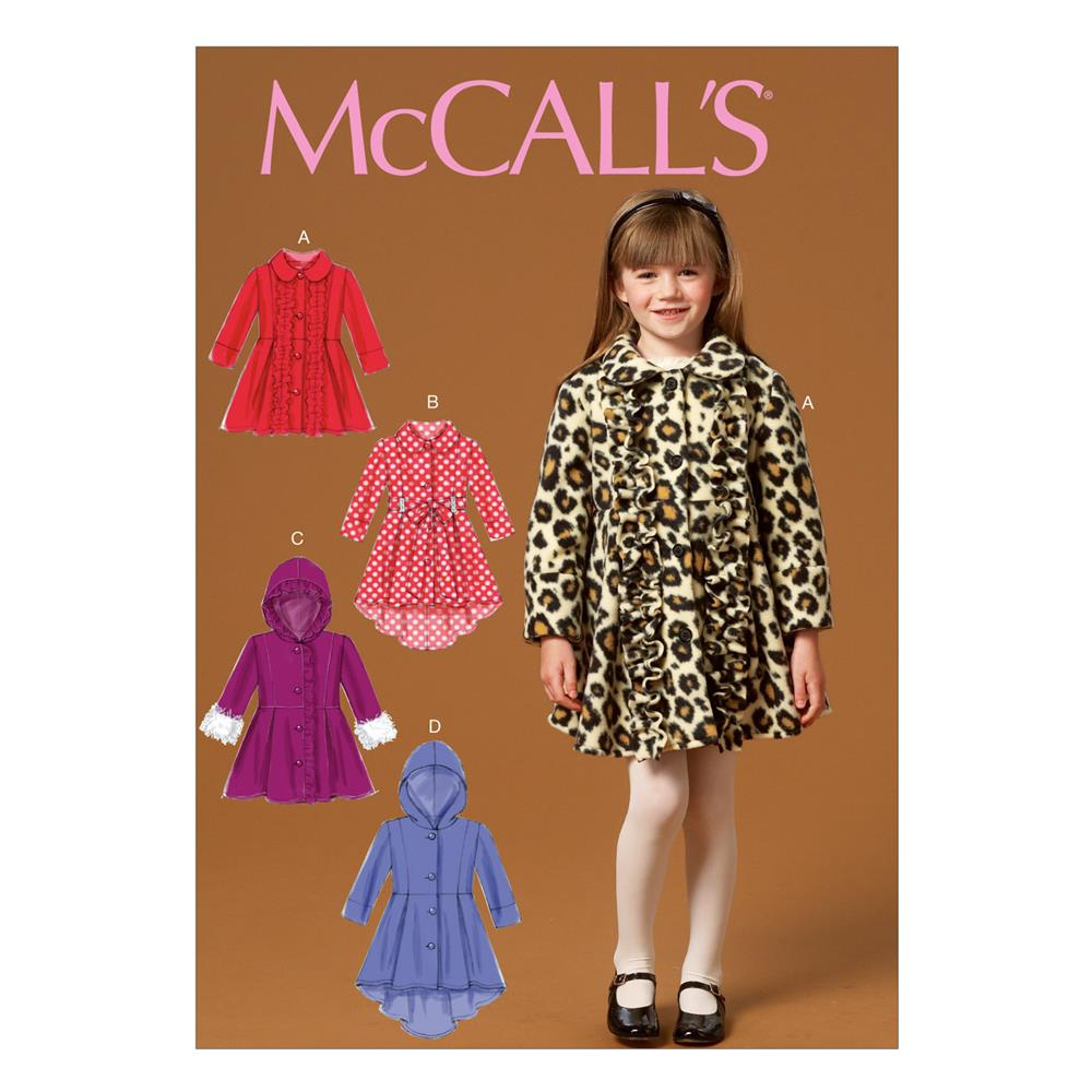 Mccall 39 s children 39 s girls 39 coats and belt pattern m7013 for Children s material sewing