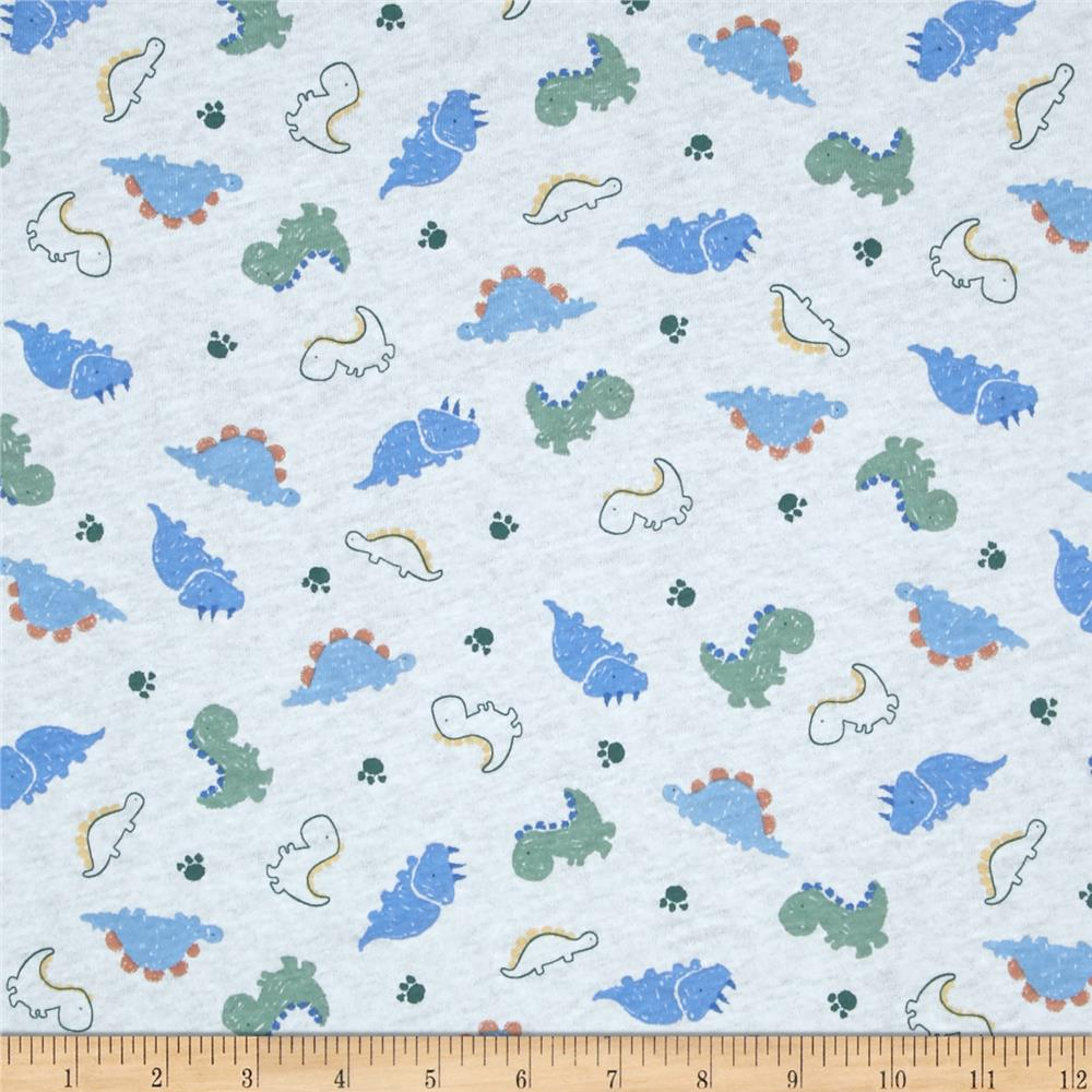 Cotton jerset knit dino blue green for Kids knit fabric