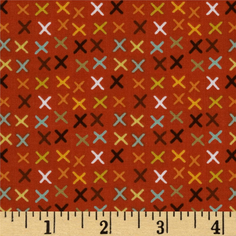 Riley Blake Giraffe Crossing Giraffe Tic Tac Red