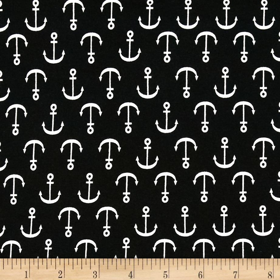 Kaufman Laguna Stretch Jersey Knit Anchors Black