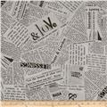 """Story 108"""" Wide Quilt Back News Print Black And White"""