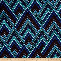 ITY Jersey Knit Aztec Chevron Blue/Red/Jade