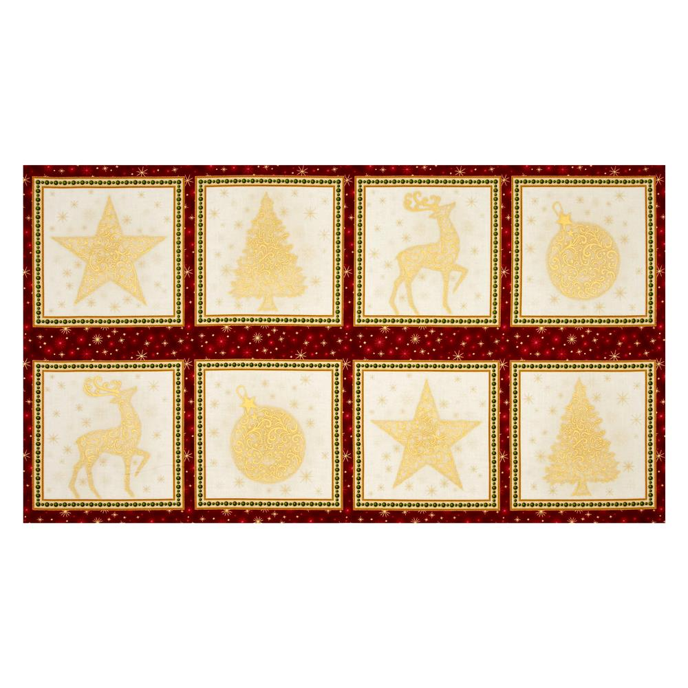 Kaufman Winter Grandeur Metallic 23.5'' Block Panel Holiday Fabric