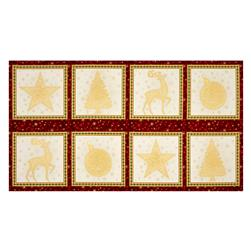 "Kaufman Winter Grandeur Metallic 23.5"" Block Panel Holiday"