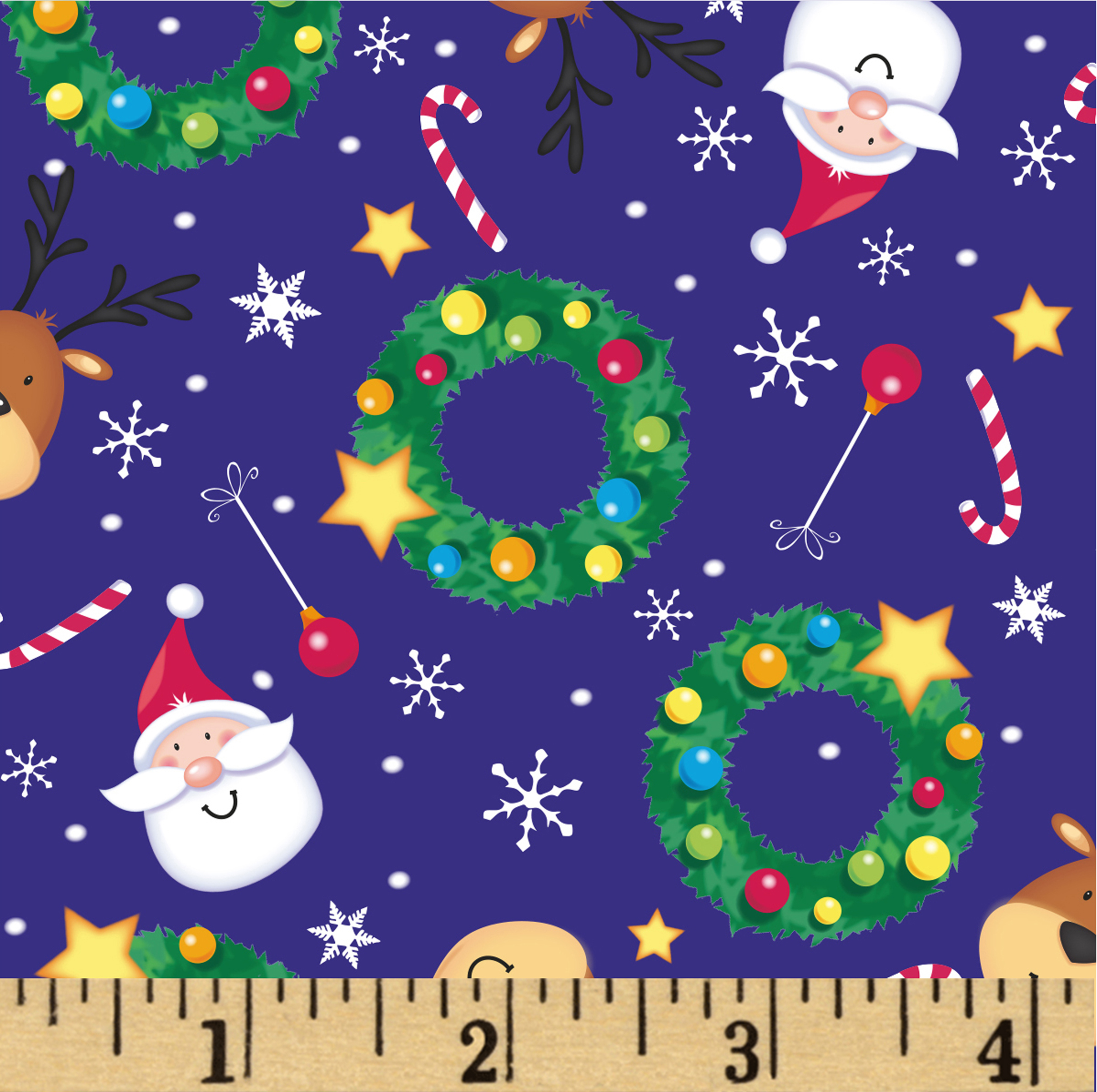 Noel Tossed Holiday Friends Navy/multi Fabric