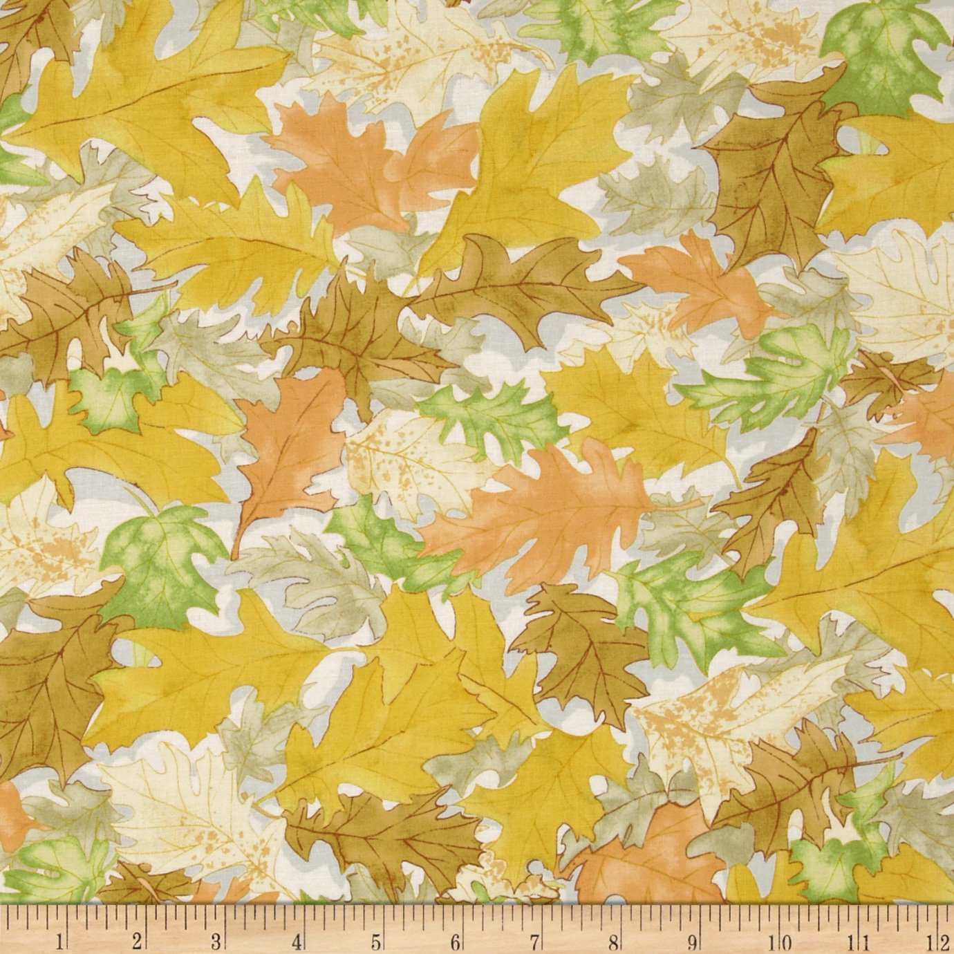 Rustic Canyon Fall Leaves Yellow Fabric