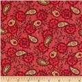 Moda Family Tree Paisley Red Bird Red