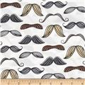 Timeless Treasures Organic Mustache Brown