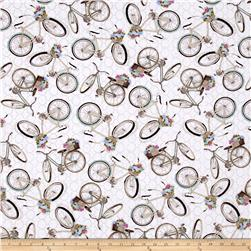 French Flea Market Bicycles Quatrefoil Cream/Multi