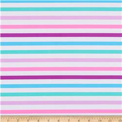 St. Maarten Swimwear Knit Stripes White/Pink/Purple