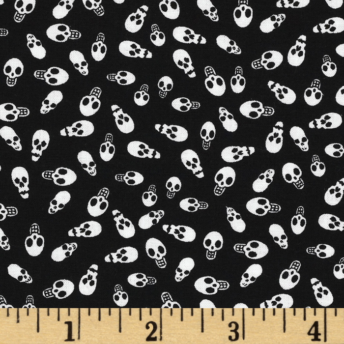 Happy Halloween Skulls Black/White Fabric