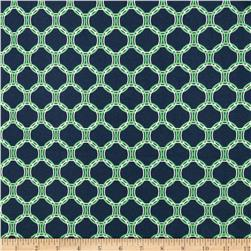 Kaufman Laguna Stretch Jersey Knit Circles Indigo Fabric