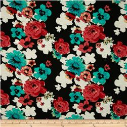 Soft Jersey Knit Floral Black/Jade/Coral Fabric