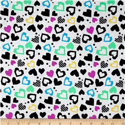 Children's Cotton T-Knits Hearts Multi on White