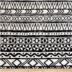 Poly Spandex ITY Knit Ikat Black/White