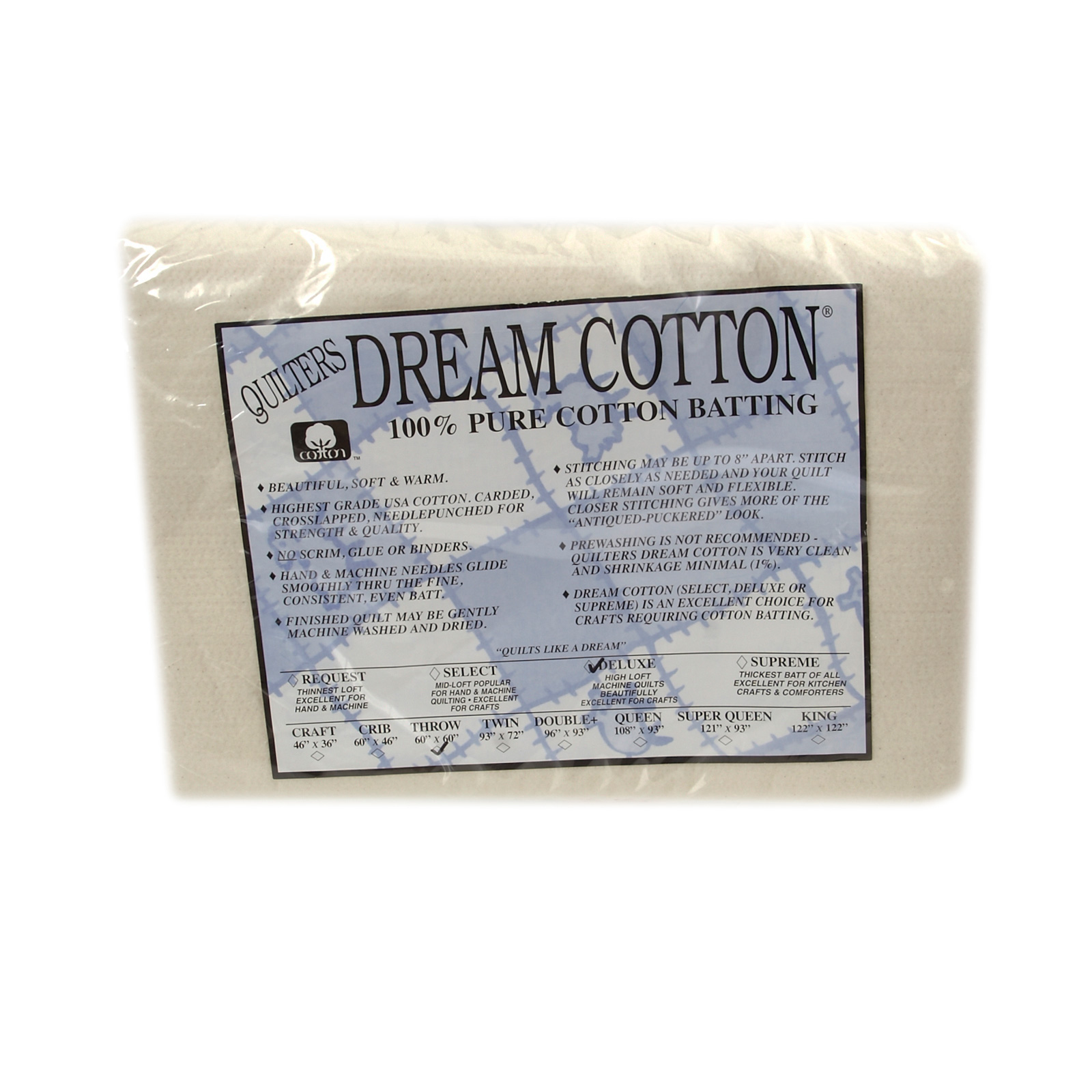 Quilter's Dream Natural Cotton Deluxe Batting (60'' x 60'') Throw by Quilter's Dream in USA