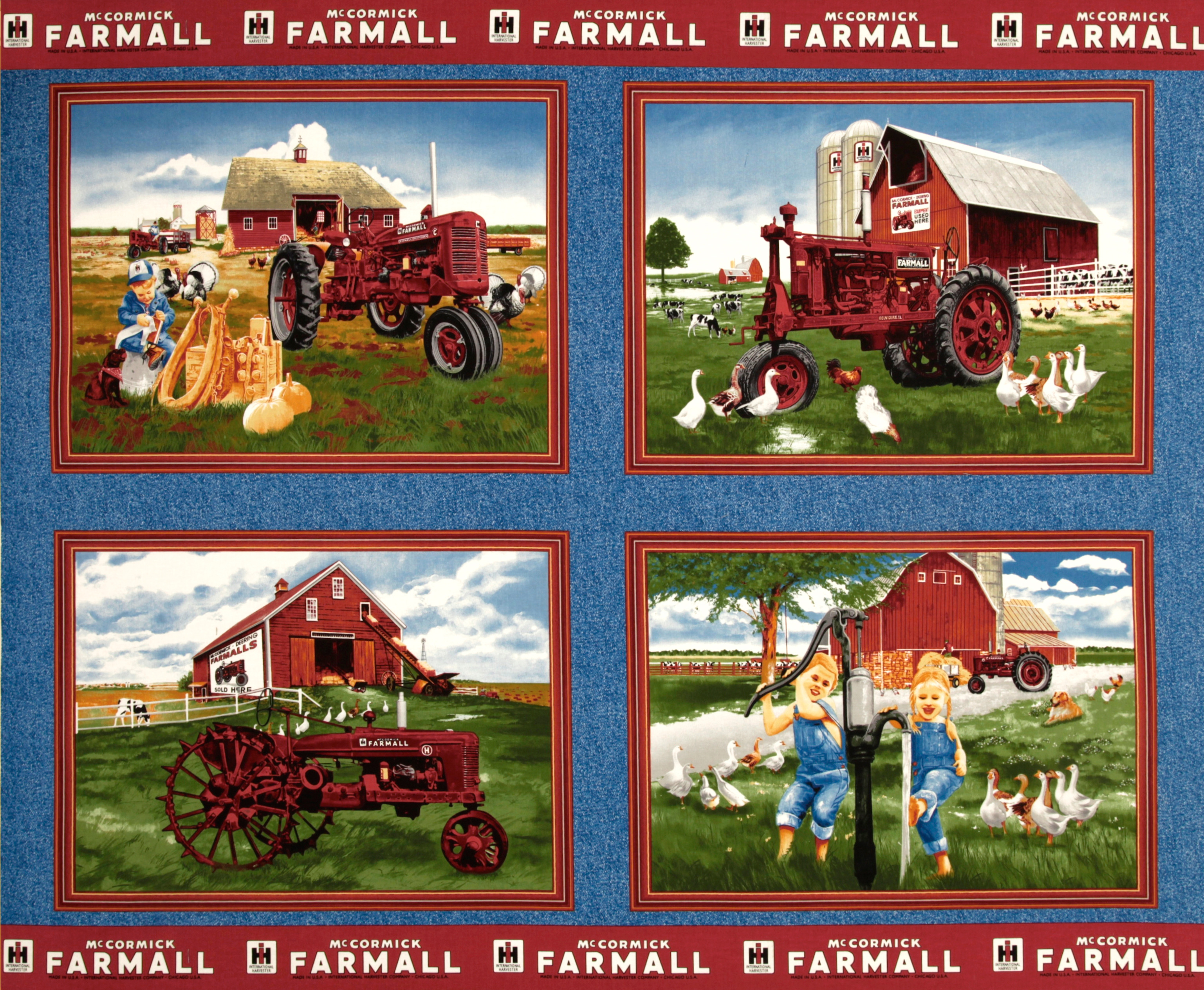 Farmall International Harvester Pillow Panel Blue Fabric