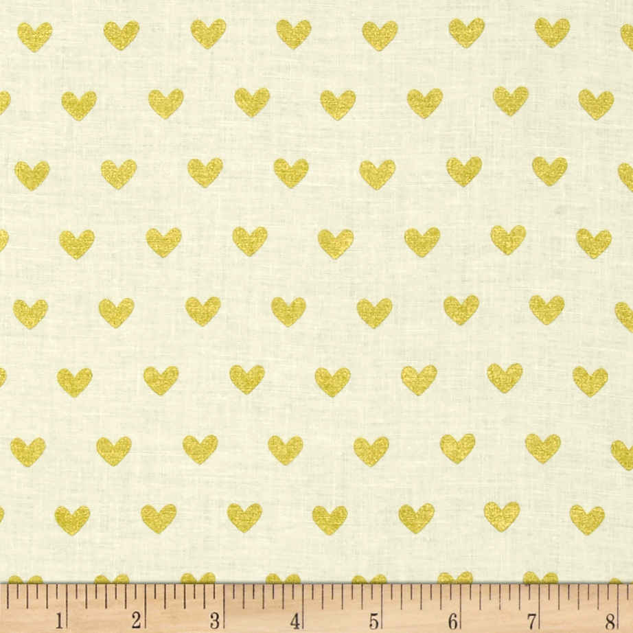 Image of ADORNit Girls Gold Hearts Fabric