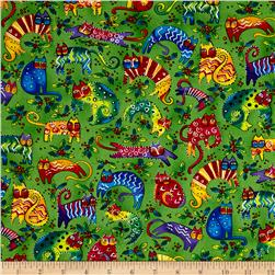 Laurel Burch Enchantment Cats & Holly Green