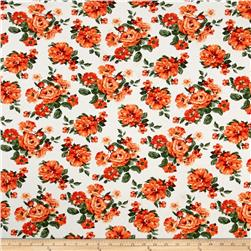 Stretch Floral Print Jersey Knit Orange