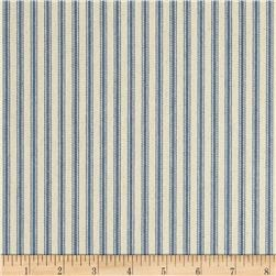 "44"" Ticking Stripe Twill Denim Blue"