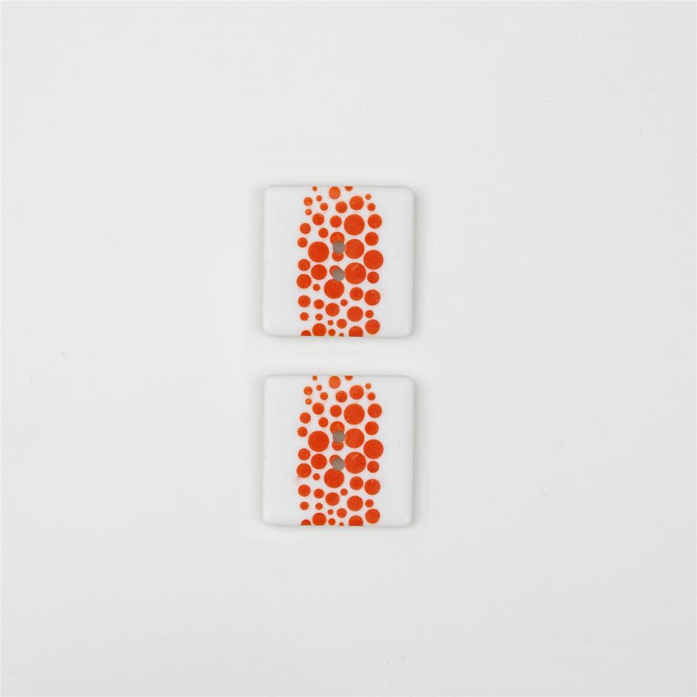 Dill Novelty Button 1'' Orange Dot on Square White