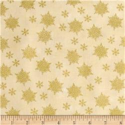 Holiday Traditions Metallic Snowflakes Cream