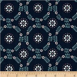 Lewis & Irene Home Sweet Home Daisy Chains Navy