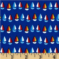 Timeless Treasures Hey Sailor Mini Sailboats Royal Fabric