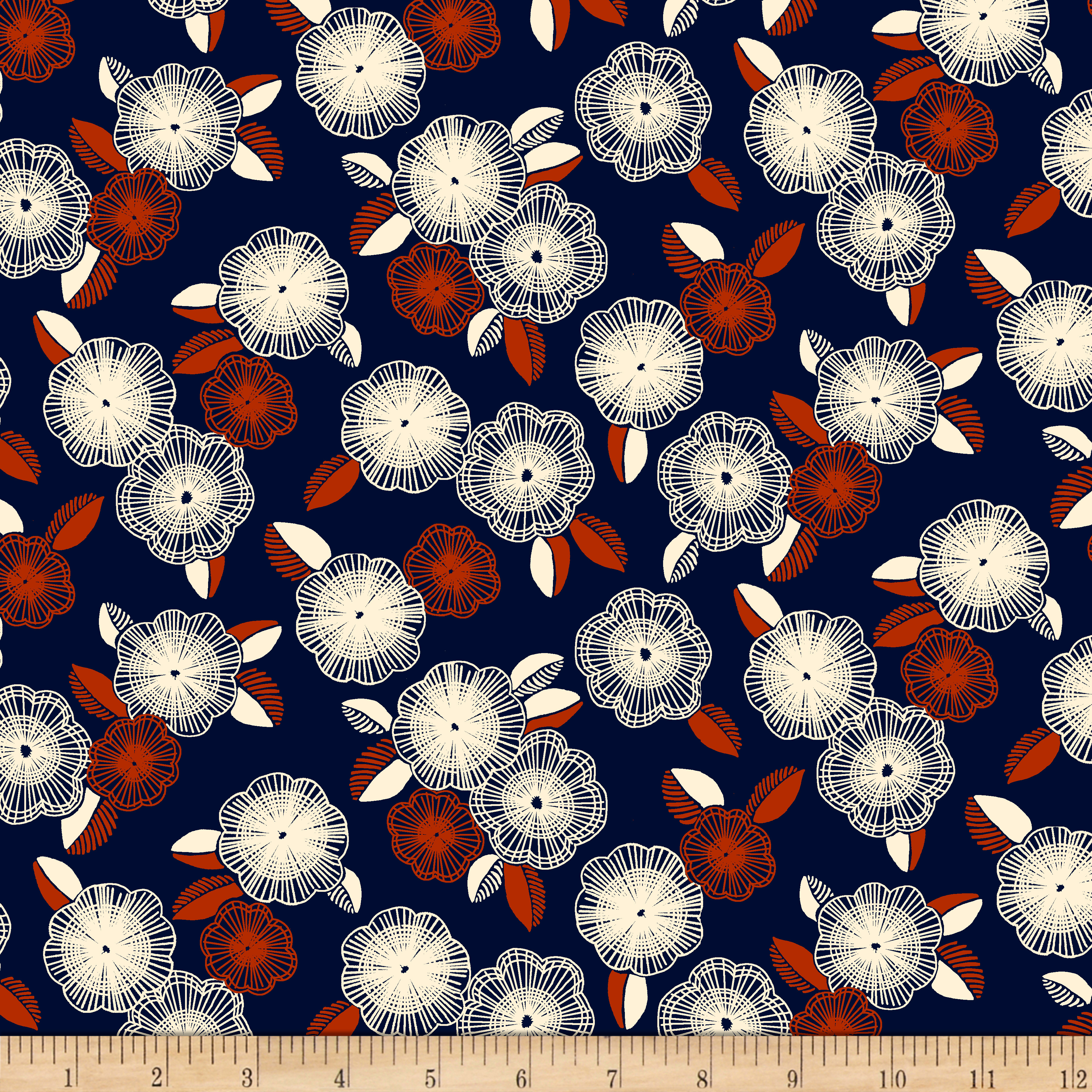 1930s House Dresses QT Fabrics Gretta 1930s Spaced Floral Navy $9.48 AT vintagedancer.com