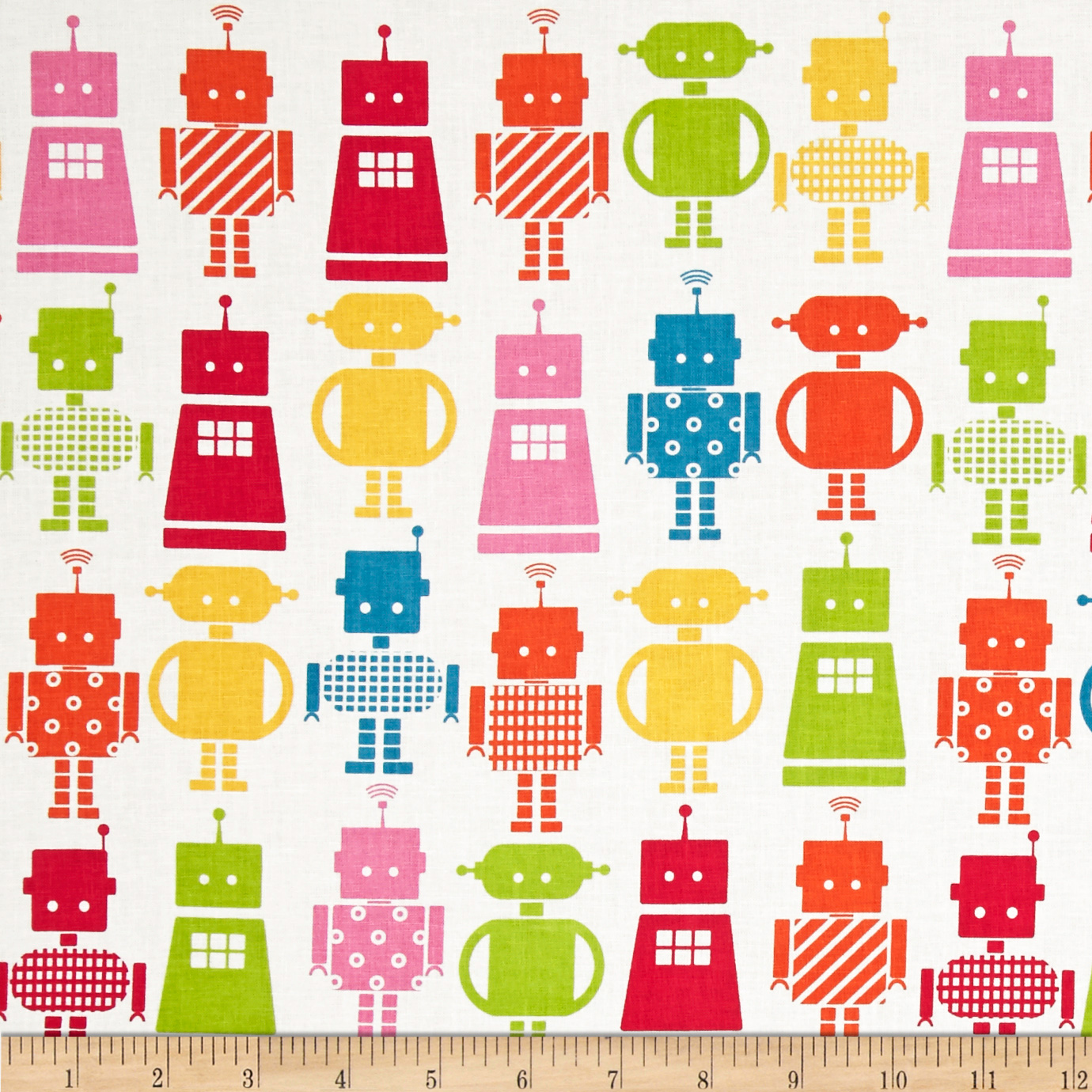 Funbots Large Robots Garden White Fabric