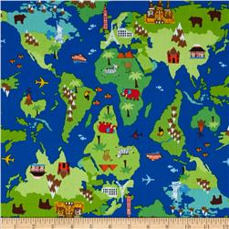 Timeless Treasures International Map Multi Fabric