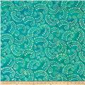 Indian Batik Hollow Ridge Scroll Vine  Teal/Natural