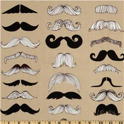 Where's My Stache? Taupe Fabric